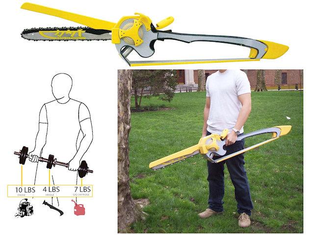 Концепт-дизайн катаны-бензопила Уэсли Тонга. Общий вид и распределение веса.
