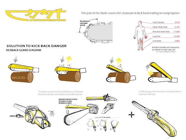 Концепт-дизайн катаны-бензопила Уэсли Тонга. Использование.
