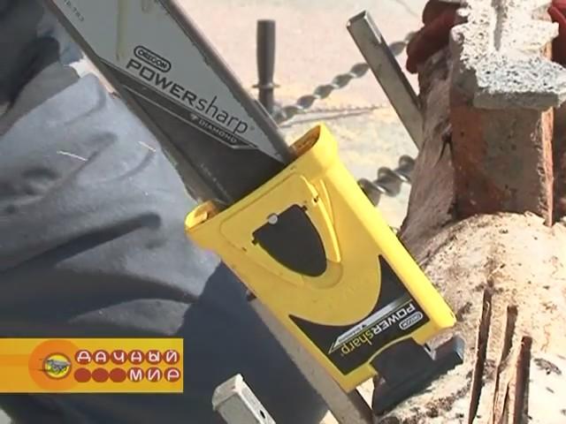 Процесс затачивания пильной цепи с помощью системы Oregon Powersharp