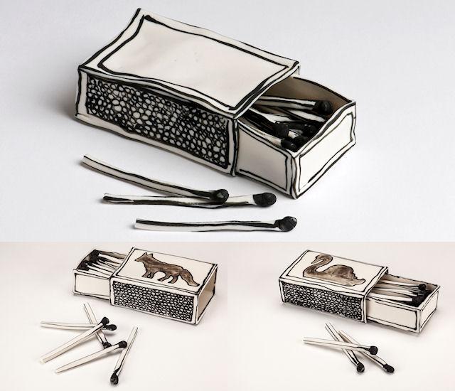 Катарина Морлинг. Керамические спичечные коробки, со спичками и разными рисункам и.