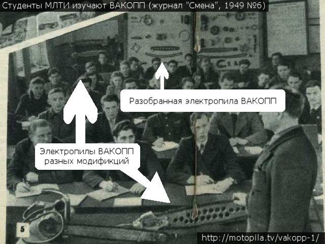 Студенты МЛТИ изучают электропилу ВАКОПП (журнал Смена, 1949 №6)